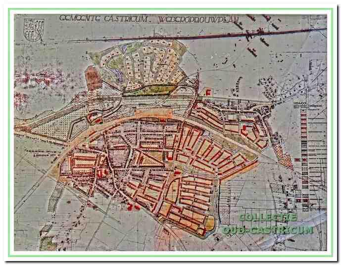 Wederopbouwplan 1947. Hierin is de oostelijke omleiding opnieuw aangeduid en is ook een westelijke randweg opgenomen. De Brink wordt als het nieuwe middelpunt van de gemeente gezien.