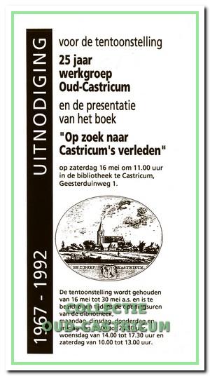 Uitnodiging voor de tentoonstelling 25 jaar werkgroep Oud-Castricum.
