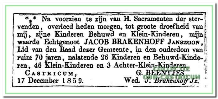 Rouwadvertentie na het overlijden van raadslid Jacob Brakenhoff, die op 17 december 1859 is overleden: zijn vele kinderen en kleinkinderen hebben hem niet afgehouden van het raadslidmaatschap.