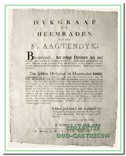 Een verordening van het dijksbestuur over het houden van vee op de dijk. Castricum 1807. In 1837 is Jan de Quack heemraad voor Bakkum.