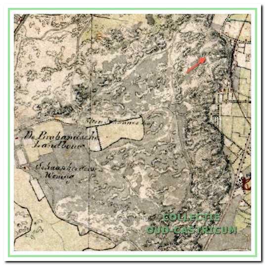 De kaart laat zien dat het duingebied zich uitstrekte tot de huidige Mient.