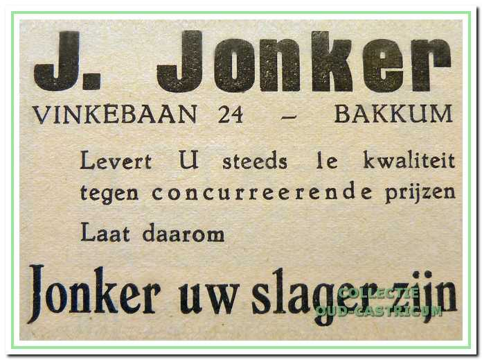 Een advertentie uit de jaren 1940.