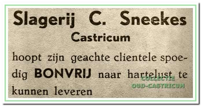Advertentie van vlak na de oorlog.