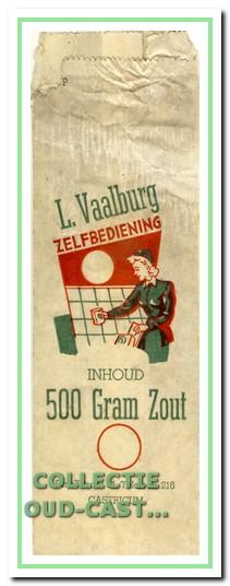 Een papieren zoutzak van zelfbediening Vaalburg.