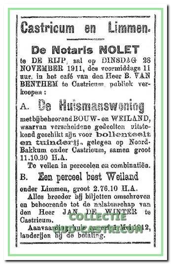 Aankondiging in de krant van 22 november 1911 van de openbare verkoping.