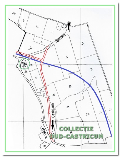 De ligging van boerderij Zeeduin op de kadastrale kaart van 1832, getekend door F.J. Nautz, met daarop de voor 1841 gewijzigde route van Castricum naar Egmond, waardoor de boerderij aan de westkant van deze wegverbinding is komen te liggen.