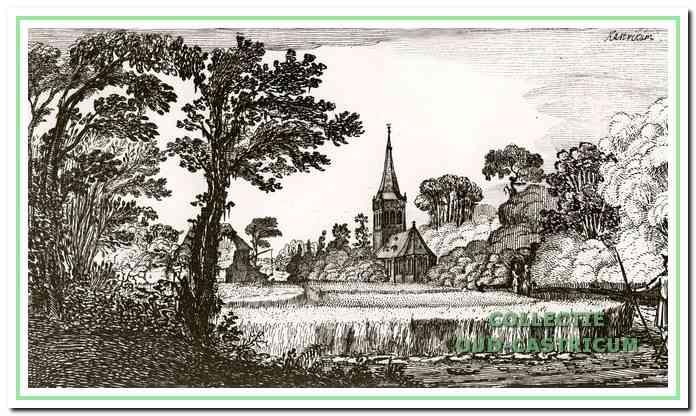 Een geromantiseerd zicht op de dorpskerk. Pentekening aangeleverd door de universiteitsbibliotheek Leiden.