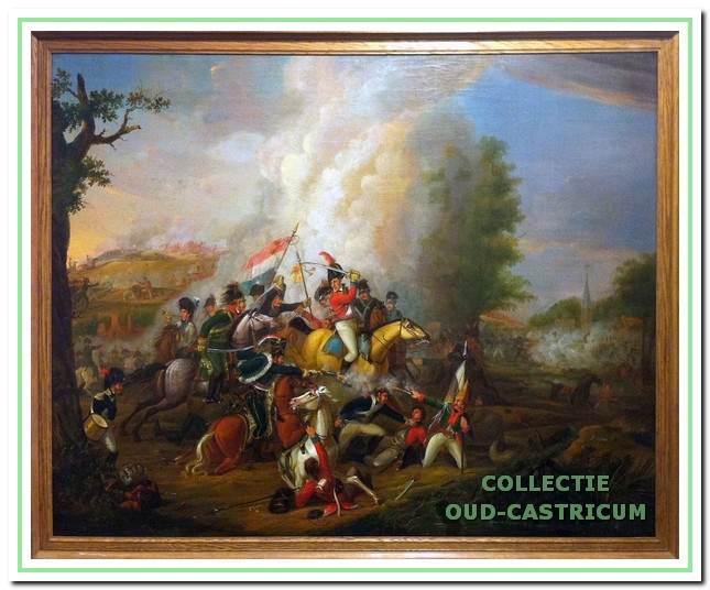 Dit schilderij hangt in het raadhuis van de gemeente Castricum. Het geeft een goed beeld van de hevigheid waarmee tijdens de slag gestreden werd.
