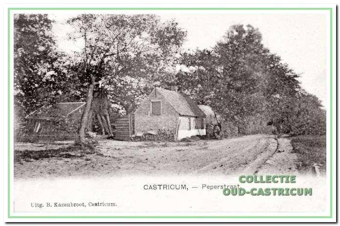Foto uit 1901 van het huisje, dat lange tijd werd bewoond door Gerrit van Velzen. Het huisje stond langs een zandpad, toen de Peperstraat, nu de Dr. Jacobilaan geheten.