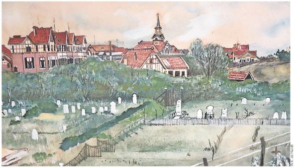 Aquarel van de begraafplaats van Duin & Bosch in 1920 (W.K. de Hardt, collectie Het Dolhuys); rechts van de obelisk het graf van Gabriël Benjamin.