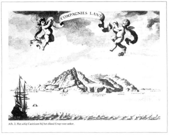 Het schip Castricum bij het eiland Urup voor anker