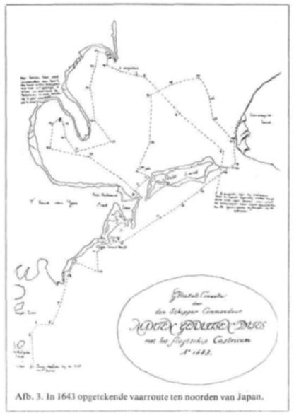 In 1643 opgetekende vaarroute ten noorden van Japan