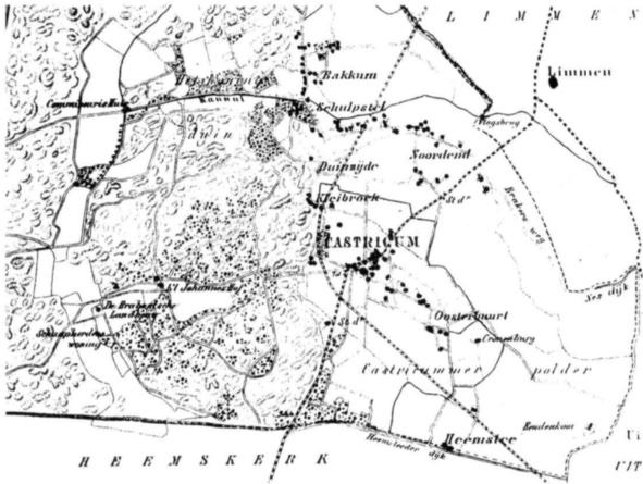 Kaartje van Castricum in 1865.