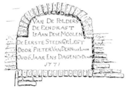"""Gedenksteen boven de toegangsdeur van de molen """"De Eendracht"""" te Alkmaar ter gelegenheid van de eerste steenlegging door Pieter van der Nolle een der eigenaren van Zeeveld."""