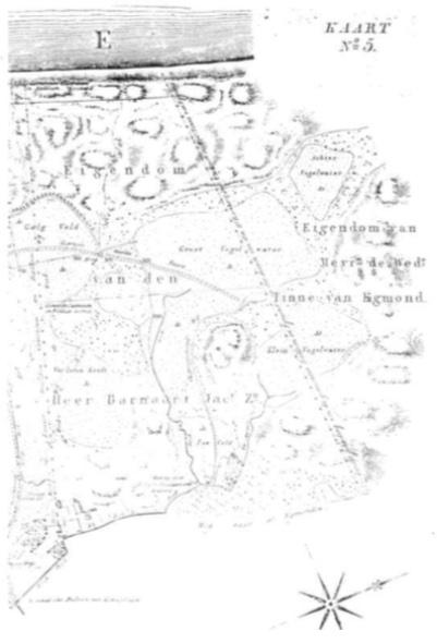 Zeeveld met bijbehorende terreinen naar de gedrukte kaart van Daniël Veelwaard en zoon, 1825.