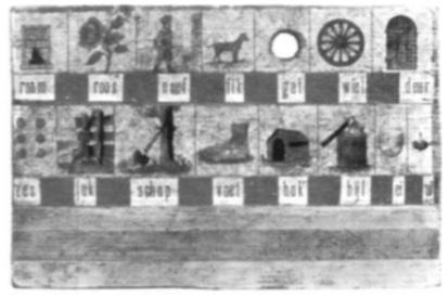 De voorloper van het bekende leesplankje Aap, Noot, Mies. 19e eeuw.