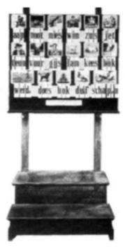 afb. 1b Hoogeveens verbeterde leesplank voor klassikaal gebruik rond 1900.