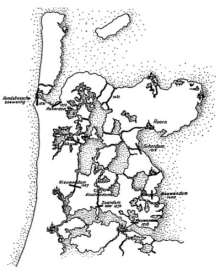 De afsluiting van de belangrijkste zeegaten in de middeleeuwen.
