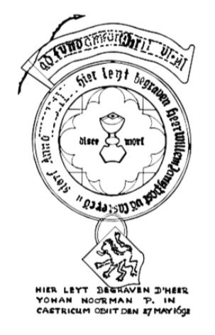 Midden voor in het koor de zerk van pastoor Willem Jansz. van Assendelft.
