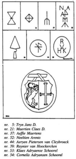 Wapen en huismerken, in 1992 nog aanwezig in de oude dorpskerk.