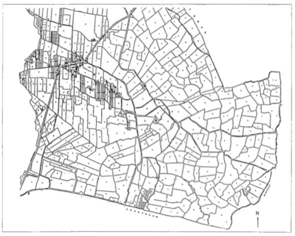 Minuutplan 1832 Castricum: zuidelijke gedeelte.