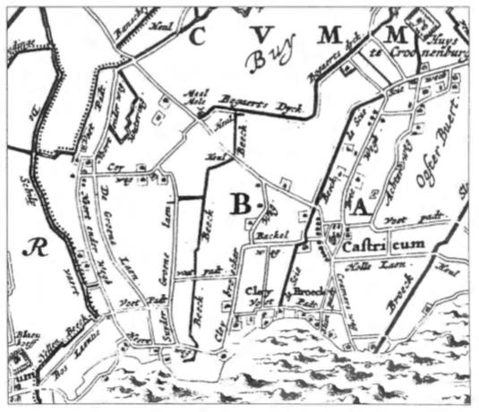 Gedeelte van de Kaart van het Hoogheemraadschap van de Uitwaterende Sluizen in Kennemerland en West-Friesland uit 1680.