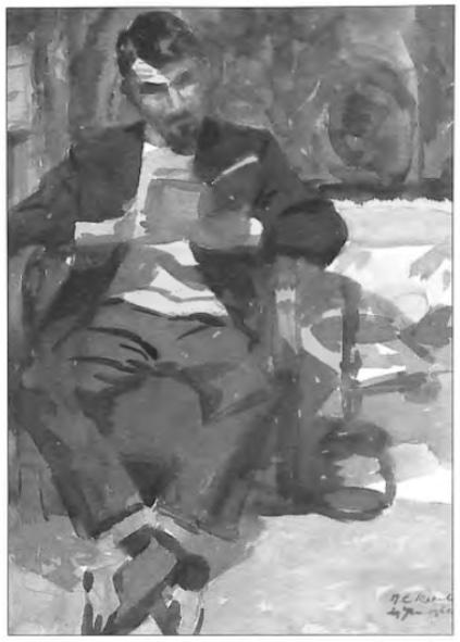 Voorbeeld van een aquarel van Cor Heeck van zijn zoon Roeland uit 1972.