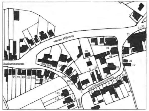 De huizen in en rond de Klompenbuurt in 1935. De nieuwe zaak van Peijs op de hoek Stetweg-Van Oldenbarneveldweg is nog niet gebouwd.