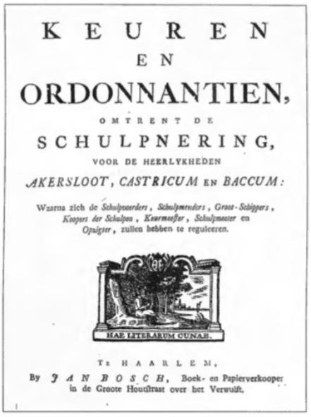 Het reglement uit 1771 gedrukt bij Jan Bosch in Haarlem.