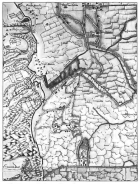 Een fragment van een kaart die voor 1635 getekend moet zijn. Op dit fragment is aan de havenzijde 'Noordt Baccum' te zien grenzend aan Egmond Binnen en aan de onderkant is de Korendijk afgebeeld, vormend de grens met de gemeente Heemskerk. De geest 'Heemstede' aan de Korendijk is heel markant weergegeven. Dat geldt ook voor het Schulpstet met vele dwarssloten naar de Schulpvaart (iets boven het midden op het kaartje).