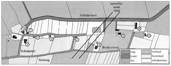 De ligging van het Schulpstet. de Schulpvaart en de Stetweg met de huizen en de percelen zoals bij de oprichting van het kadaster in 1832 nauwkeurig werden opgetekend.
