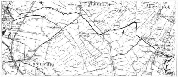 De loop van de Schulpvaart naar het Alkmaardermeer op een kaart, uitgegeven in 1910. Na het poldergemaal en het sluisje in Akersloot splitste de vaart zich en stroomde op twee plaatsen, geheten 'Limmergat' en 'Dodde' uit in het Alkmaardermeer.