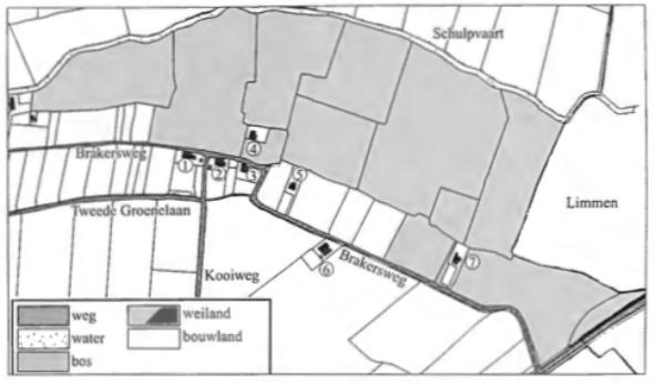 De ligging van de huizen en de percelen zoals bij de oprichting van het kadaster in 1832 nauwkeurig werd opgetekend. Het toenmalige gebruik van de percelen tussen de Brakersweg en de Schulpvaart, de grens met de gemeente Limmen en de Alkmaarderstraatweg is aangegeven.
