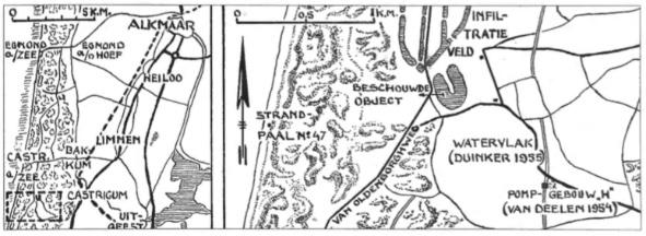 Twee kaartjes waarop de vondstlocatie is aangegeven (tekening A. Schermer).