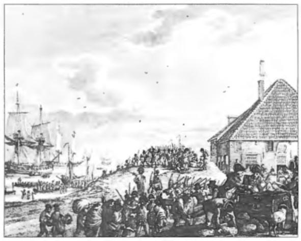 De inscheping in Den Helder van de Russen en Engelsen voor vertrek naar Engeland.