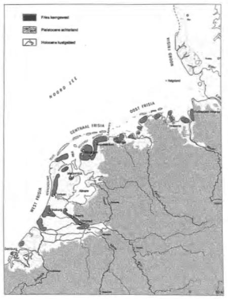 Kaart met de kerngebieden van bewoning in 'Frisia' in de 7e-8e eeuw. In de donkergrijze gebieden was de meeste geconcentreerde bewoning aanwezig in het gebied dat destijds als 'Frisia' werd aangemerkt. Het strekte zich uit van de huidige provincie Zeeland tot aan het Duits-Deense grensgebied. In midden Noord-Holland zien we een langwerpige vlek, ongeveer van (het huidige) Velsen tot boven Alkmaar (bron: Universiteit van Amsterdam, ADC).