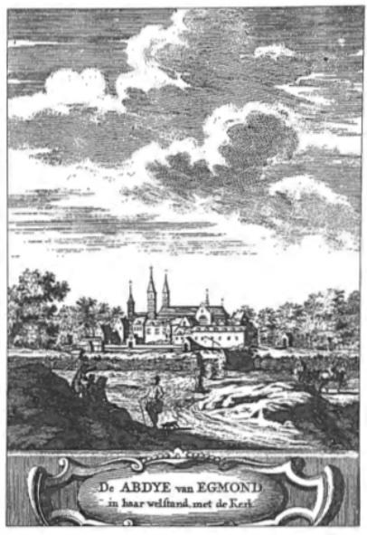 De abdij in welstand zoals die er voor de verwoesting in 1573 moet hebben uitgezien.