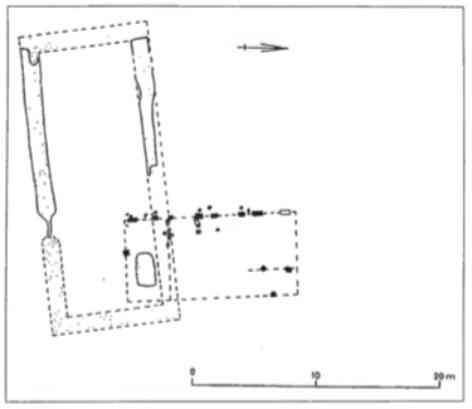 De ligging van het houten klooster ten opzichte van de eerste stenen abdijkerk. De ligging van het graf van Dirk I en zijn vrouw is aangegeven.