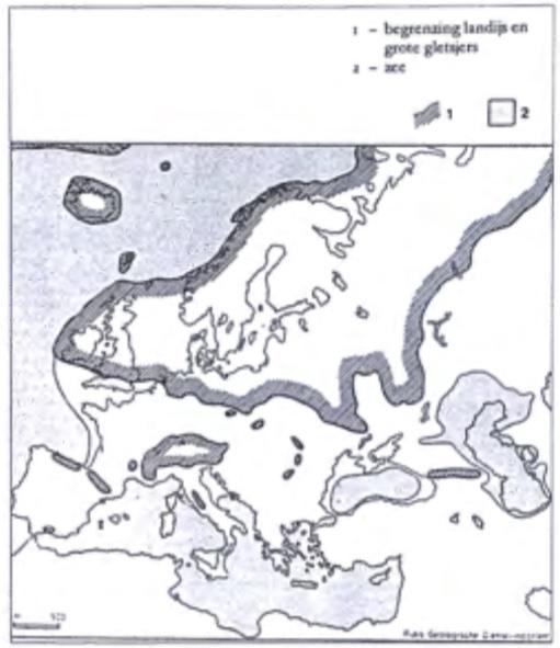 Verbreiding in Europa van landijs en grote gletsjers gedurende het Saalien. (Zagwijn 1975)
