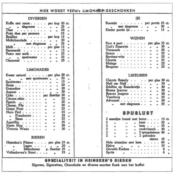 Prijslijst uit de jaren dertig.