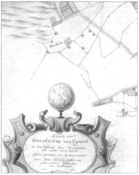 Fragment van de kaart van het Graafschap van Egmont in 1665 getekend door Jan Dirksz Zoutman.