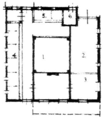 Plattegrond van de Noord-Hollandse stolp. 1. hooiberging, 2. dars of deel, 3. wonen,, 4. lange regel, 5. korte regel, 6. paard