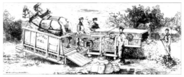 Voorbeeld van landbouwmechanisatie omstreeks het midden van de 19e eeuw. De afbeelding toont een hekeldorsmachine, die werd aangedreven door paarden in een tredmolen. Het is aannemelijk dat ook in Castricum in toenemende mate gebruik werd gemaakt van door paardenkracht aangedreven werktuigen. Later in de 19e eeuw werd de paardenkracht vervangen door stoom.