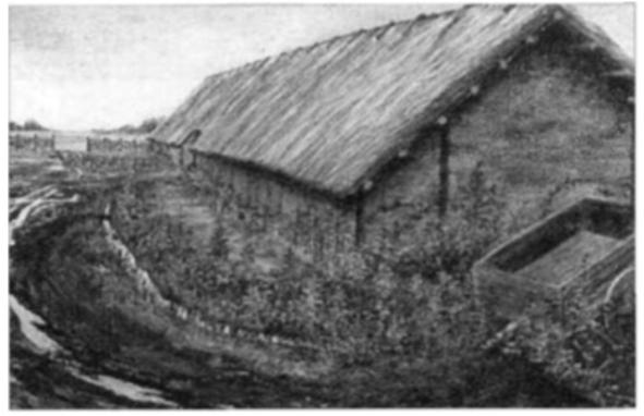 Een reconstructie van een stalwoning.