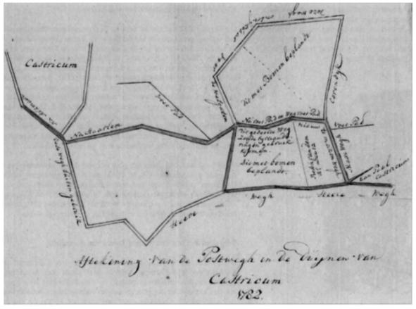 Kaartje van landmeter Tromp uit 1782.
