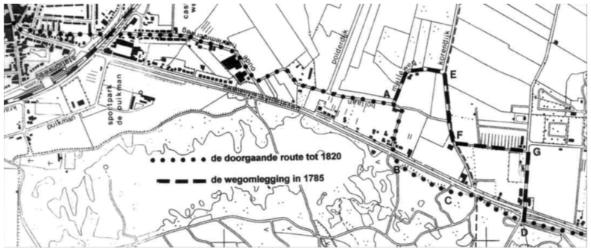 De wegverlegging geprojecteerd op een recente kaart.