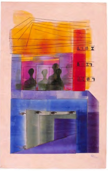 Druksel van Hendrik Werkman uit de serie Amsterdam-Castricum, waarin hij de kluis uitbeeldt. De hele serie bestaat uit 11 kleurrijke drukwerken (foto Stedelijk Museum).