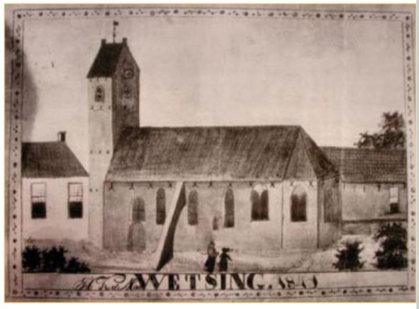 Afbeelding van de kerk van Groot Wetsinge volgens het onderschrift uit 1841. De kerk was toen al afgebroken. De afbeelding kan dus vanuit de herinnering tot stand zijn gebracht of een oudere afbeelding heeft als voorbeeld gediend.