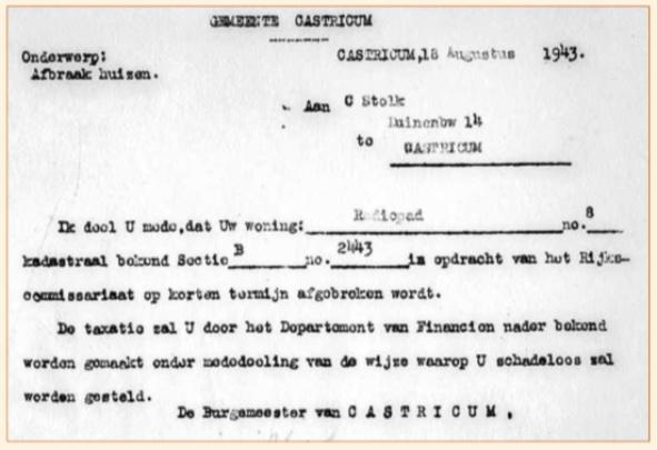 De kennisgeving aan radiopionier Cornelis Stolk, waarin werd meegedeeld dat zijn pand zou worden afgebroken.