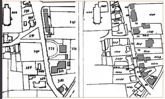 Kadasterkaarten uit 1822 en 1930 tonen de toenmalige bebouwing tussen de huidige Torenstraat en de Korte Cieweg, die in dit artikel ter sprake komt.